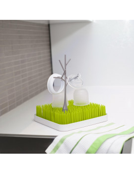 Boon Twig Grass And Lawn Baby Bottle Drying Rack Accessory - Creates More Drying Space, Gray