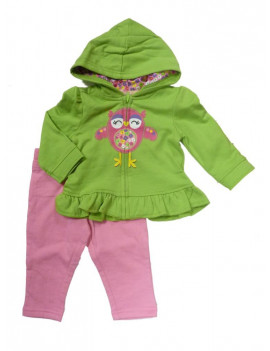 Kids Headquarters Infant Girl Set Green Bird Hoddie Sweatshirt Pink Leggings