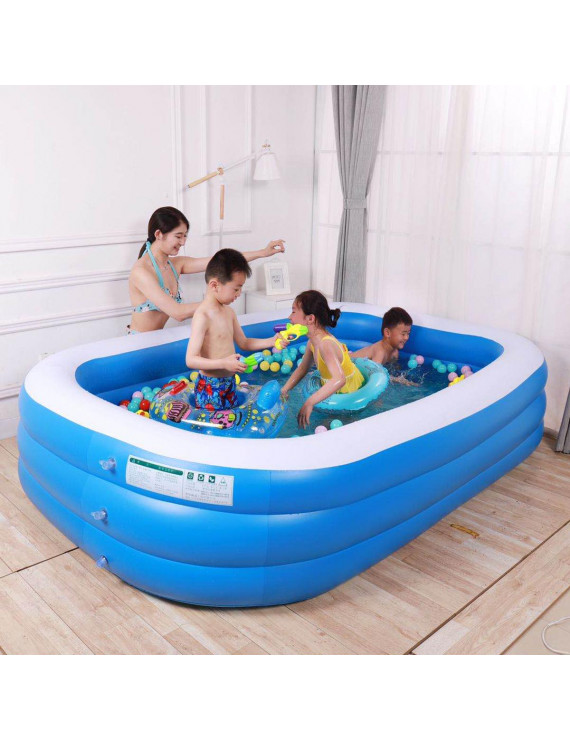 Portable Inflatable Swimming Pool Kids Children Adults Outdoor Home Use Bathing Tub - 83L*59W*24H inch