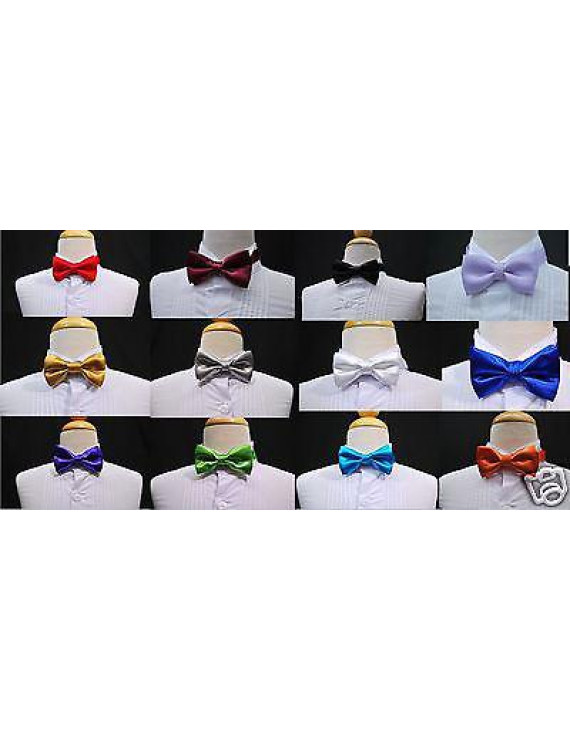 14 Colors Selection Satin bow Tie for Infant, Toddler & Boys Formal Tuxedo Suit