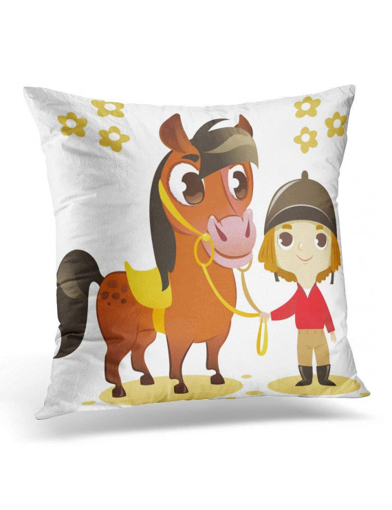 CMFUN Brown Girl Child Stand with Small Horse White Red Jockey Pillow Case Pillow Cover 18x18 inch