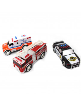 3-in-1 Emergency Vehicle Toy PlaySet for Kids w/ Lights and Sounds Fire Truck