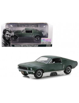 """1968 Ford Mustang GT Fastback Green Unrestored """"Steve McQueen Collection"""" (1930-1980) 1/24 by Greenlight"""