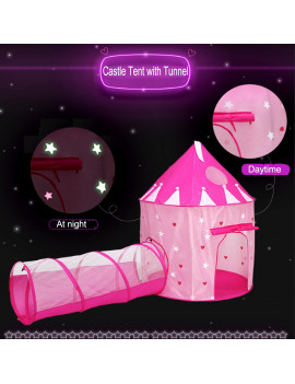 2 in 1 Kids Play Tent with Tunnel, Noctilucent Princess Castle Tent, Foldable Playhouse Tent Home Backyard Playground Play Crawl Tunnel Toy, Pink