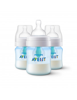 Philips Avent Anti-colic Bottle with AirFree vent 4oz 3pk Blue, SCF402/34