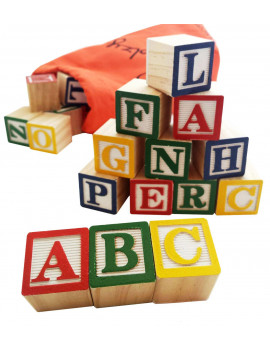 Skoolzy ABC Wooden Building Blocks Alphabet Toy Set Great For Baby, Toddlers, Preschool 31 pc Set with Storage Bag