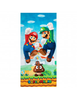 Super Mario Kids Super Soft Cotton Beach Towel, 28 x 58, Play For Leaps