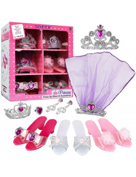 Click N' Play Girls Princess Dress Up Set, High Heels, Earrings, Ring and Accessories