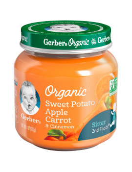 (Pack of 6) Gerber Organic 2nd Foods Baby Food, Sweet Potato Apple Carrot & Cinnamon, 4 oz Jars