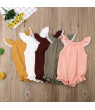Newborn Infant Baby Girls Ruffle Solid Romper Bodysuit Jumpsuit Clothes Outfits 0-24M