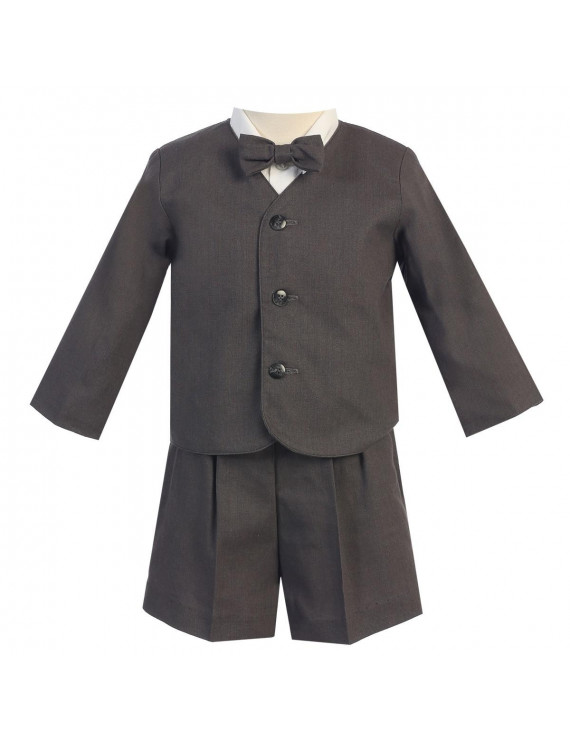 Baby Boys Charcoal Eton Short Formal Ring Bearer Suit 6-12M