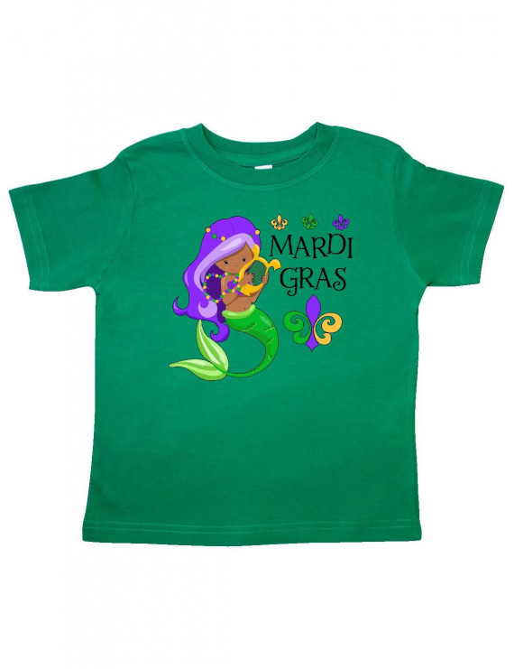 Mardi Gras mermaid with harp and beads Toddler T-Shirt