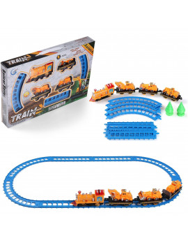14-Piece Battery Operated Construction Truck, Train and Track Play Set