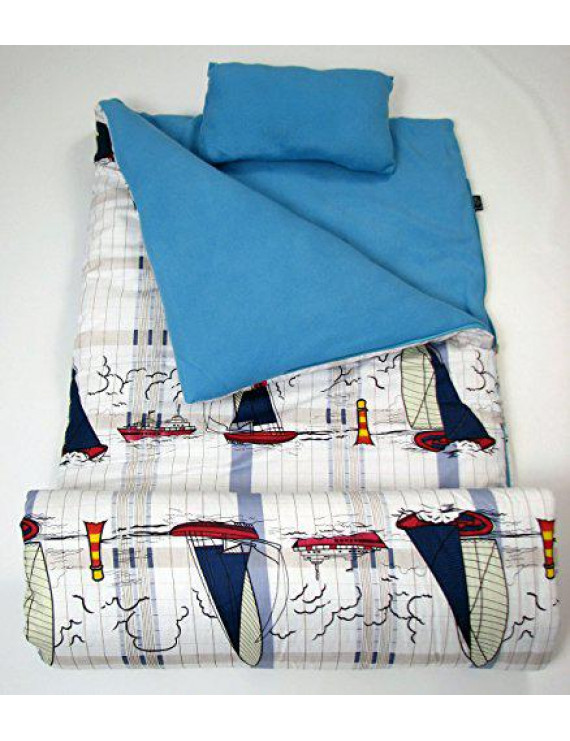 SoHo Slumber Bag for Kids, Sailor's Boat, With Pillow and Sleeping Bag Cover, 50 Degrees