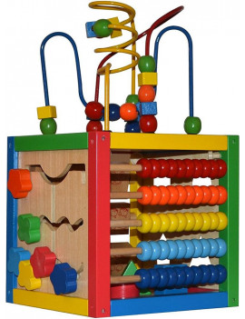 Activity Cube with Bead Maze - 5 in 1 Baby Activity Cube Includes Shape Sorter, Abacus Counting Beads, Counting Numbers, Sliding Shapes, Removable Bead Maze - My First Baby Toys - Original