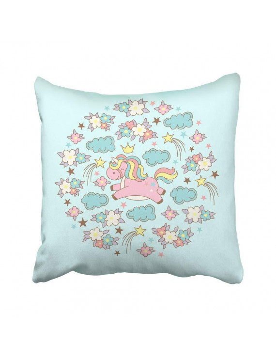 USART Cute Magic Kawaii Unicorn Clouds Flowers and Stars on Blue for Congratulations Pillow Case Pillow Cover 18x18 inch Throw Pillow Covers