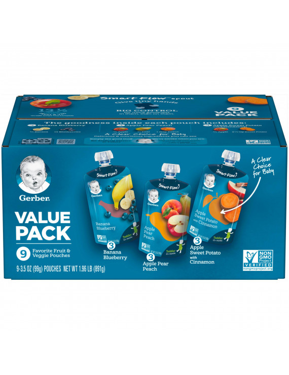 (Pack of 9) Gerber Toddler Baby Food Value Pack Banana Blueberry Apple Pear Peach & Apple Sweet Potato with Cinnamon 3.5 oz Pouches