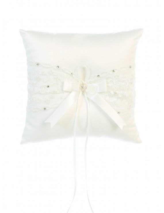Boys Ivory Square Ribbon Rhinestone Accent Ring Bearer's Pillow