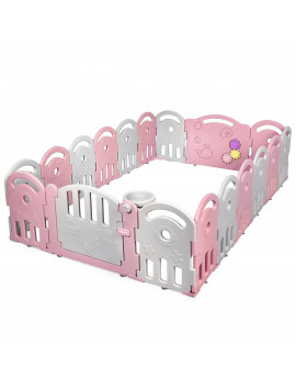 18-Panel Baby Playpen Kids Safety Yard Activity Center with Educational Toys Pin