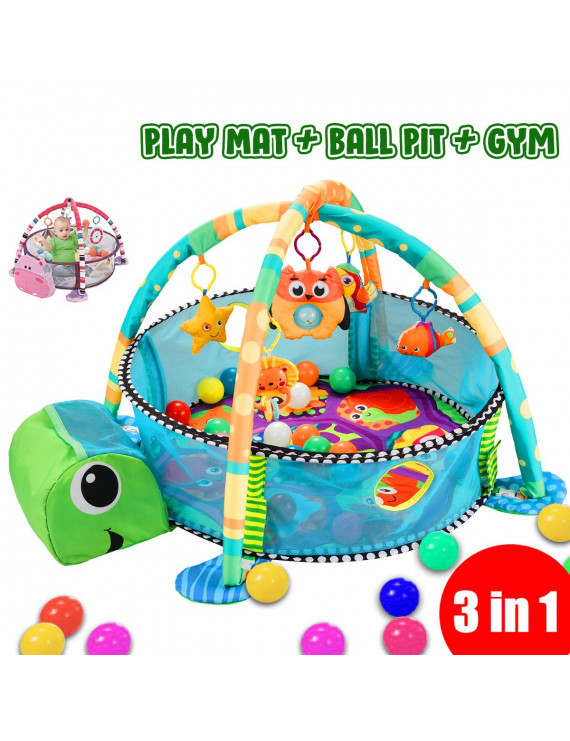 3 in 1 Baby Activity Gyms Playmats Infant Baby Children Activity Gym Playmat Toy Infant Gift Cartoon Lion Gym Play Mat with Hanging Toys Ball Pit