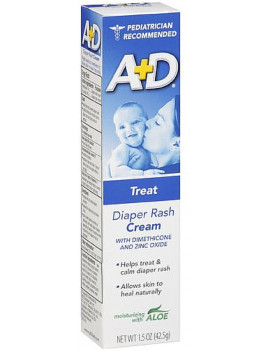 A+D Diaper Rash Cream, Zinc Oxide, with Aloe 1.50 oz (Pack of 6)