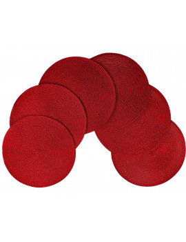 Christmas Carol Woven Spiral Table Placemats 15 Inches Round Set of 6 Non-Slip Dining & Kitchen Table Mats Red