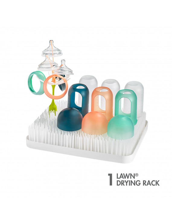 Boon Lawn Countertop Drying Rack, Low-Profile Easy To Clean Baby Bottle Drying Rack, White