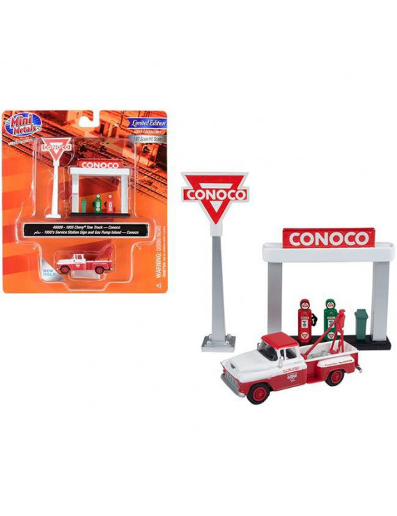 Classic Metal Works 40009 1955 Chevrolet Tow Truck White & Red with 1950s Service Station Sign & Gas Pump Island Conoco 1 by 87 HO Scale Model