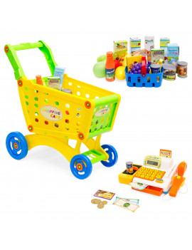 Best Choice Products 27-Piece Educational Toy Pretend Grocery Shopping Cart w/ Cash Register, Plastic Food, Play Money