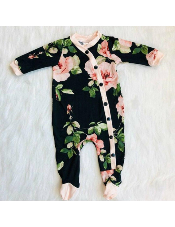 Lookwoild Sweet Newborn Baby Girl Clothes Flower Long Sleeve Romper Jumpsuit