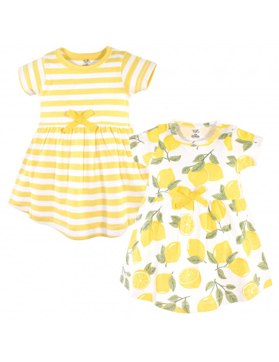 Touched by Nature Toddler Girl Organic Cotton Short-Sleeve Dresses, 2-Pack