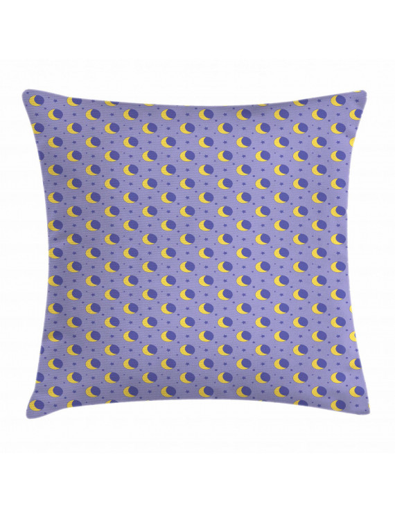 Moon Throw Pillow Cushion Cover, Childish Kids Pattern with Moon Stars Dots Cartoon Style Night Sky for Toddler, Decorative Square Accent Pillow Case, 20 X 20 Inches, Lavender Yellow, by Ambesonne