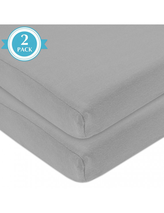 American Baby Co. Cotton Jersey Knit Fitted Mini Crib Sheet, Grey 2pk