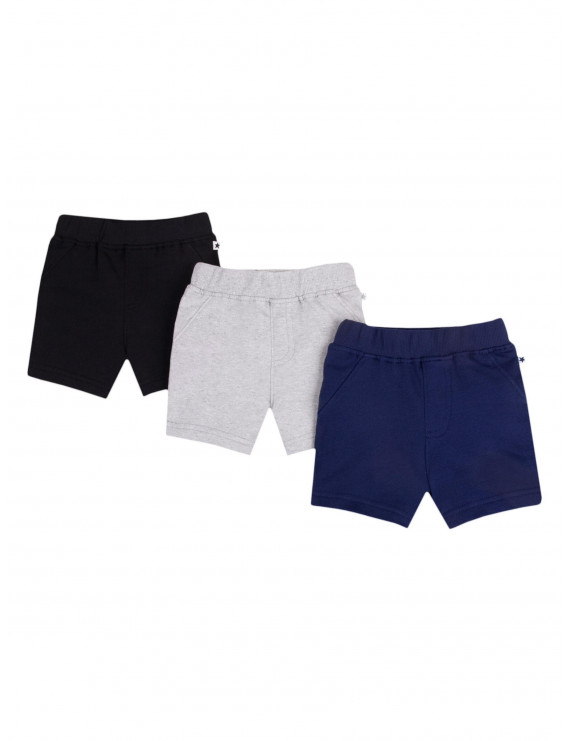 Little Star Organic Baby and Toddler Boys Pure Organic True Brights Shorts, 3-Pack