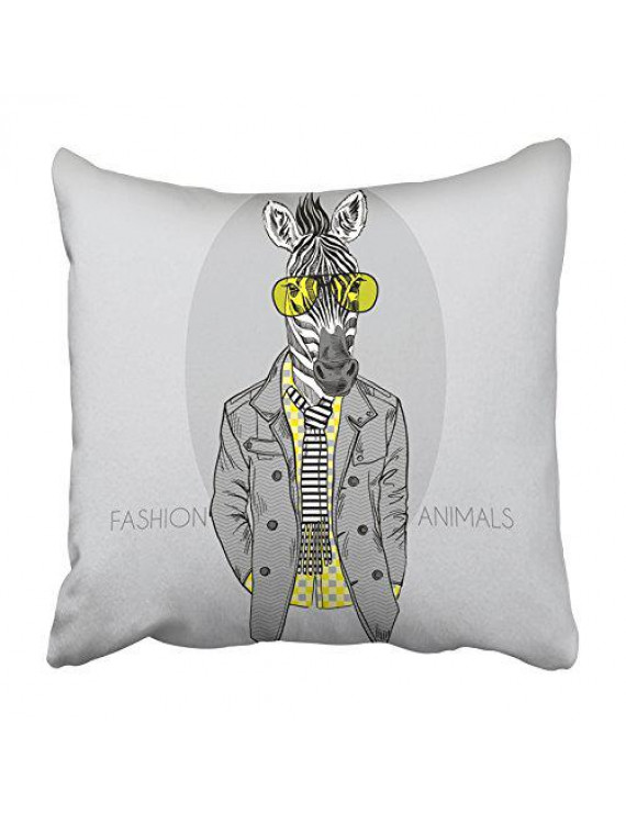 ARHOME Animal of Zebra in Yellow Glasses Grey Hipster Funny Africa Drawing Kid Man Pillowcase Cushion Cover 18x18 inch