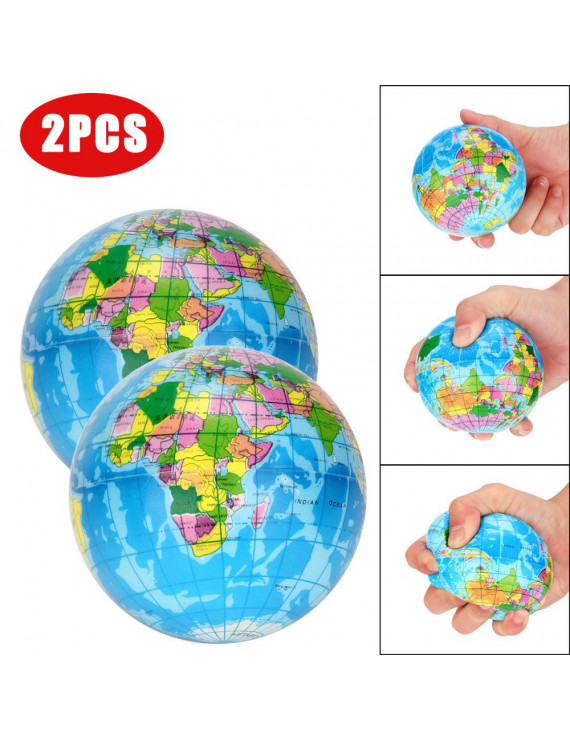Outtop 2PCS Stress Relief World Map Jumbo Ball Atlas Globe Palm Ball Planet Earth Ball