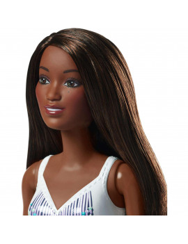 Barbie Beach Doll with White Patterned One-Piece Swimsuit, Brunette