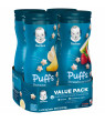 (4 Canisters) Gerber Puffs Banana/Strawberry Apple Cereal Snack Variety Pack 1.48 oz.