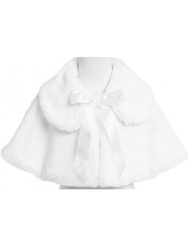 Baby Girl's Soft Faux Fur Cape with Satin Tie in White Infant XL (18-24 months)