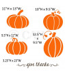 "Large Orange Pumpkins with Brown Give Thanks Vinyl Lettering Wall Decal Stickers (11""H x 13""W, 10.5""H x 9.5""W, 9.5""H x 12""W, 12.5""H x 9.5""W and a ""give thanks"" that measures 3.25""H x 23""L)"
