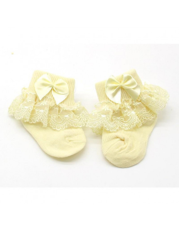 1 Pair Baby Infant Girls Cute Princess Lace Bowknot Ankle Socks for 0-24 Months