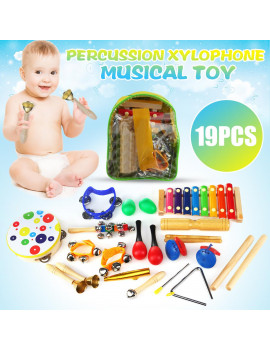 19Pcs Toddler Musical Instrument Set Wooden Educational Music Toys Percussion Xylophone Kids Band Kit and Storage Backpack
