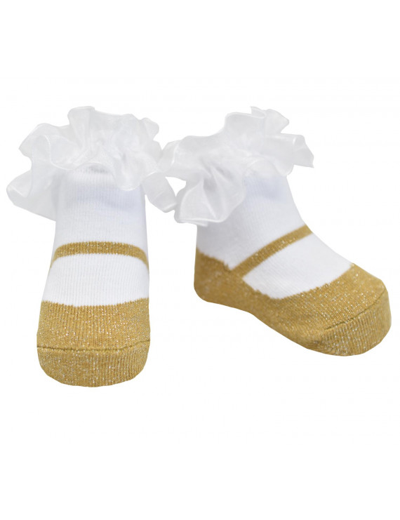Baby Emporio-Baby girl sparkle socks that look like Mary shoes-cotton-satin bows-0-12 Months - SPARKLE GOLD