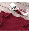 3PCS Summer Infant Baby Girl Short Sleeve Knitted Clothes Romper Tops Flower Pants Headband Outfit Set