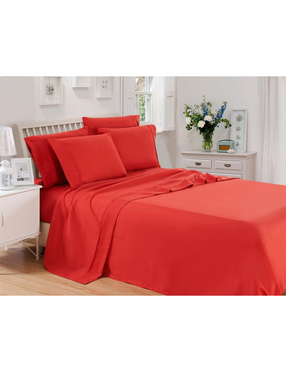 Lux Decor Collection Solids Bed Sheet Set (Full, Burgundy), 4 Piece Deep Pocket 1800 Series Microfiber Bed Sheet Set Contains (1 Fitted Bed Sheet, 1 Flat Sheet, 2 Pillow Covers)