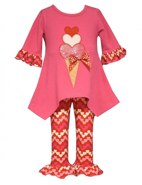 Baby Girl 3M-24M Heart Ice Cream Cone Tunic-Dress/Legging Set, Bonnie Jean