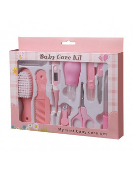 10Pcs/Set Baby Health Care Kit Portable Newborn Infant Nursery Set Kids Grooming Kit Baby Nail Clipper Brush Comb Cleaning Sets (Pink)