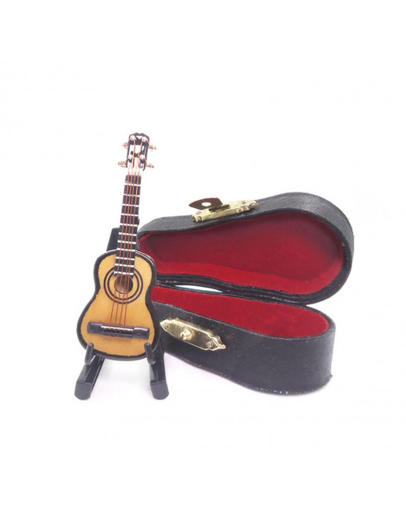 Wooden 1:12 Mini Guitar Mini Decorative Toy House Model Toy Accessories