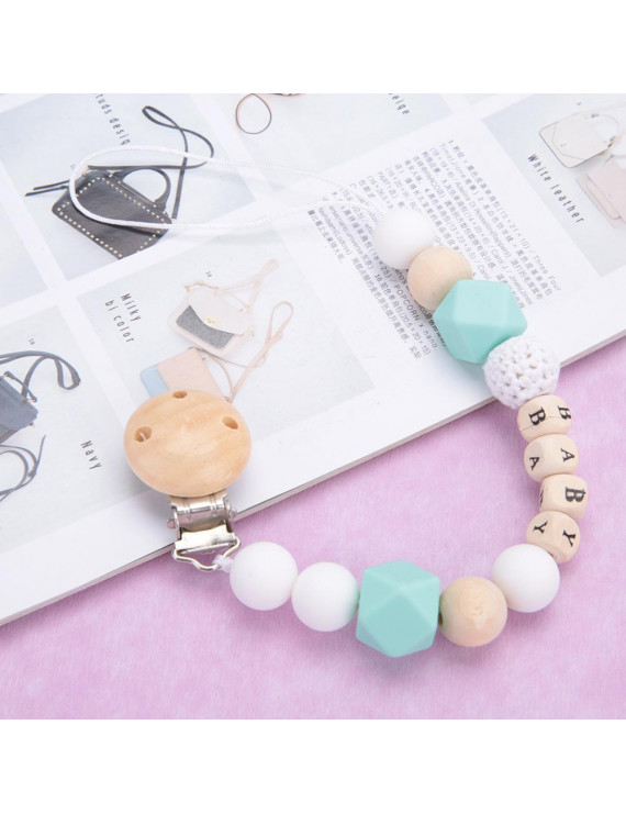 LYUMO Silicone Pacifier Clip Bead Pacifier Holder Chain for Girls Boys Teether Toys, Bead Pacifier Clips , Clips Holder Chain