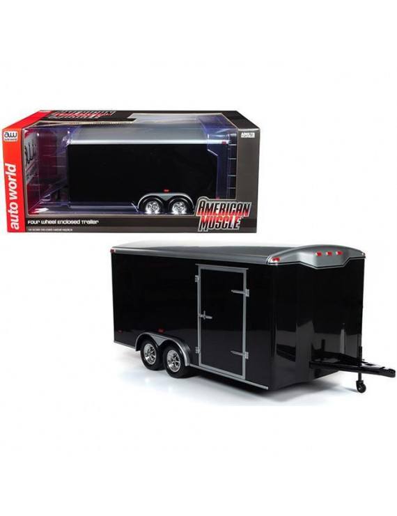 Autoworld AMM1217 Four Wheel Enclosed Trailer Black with Silver Top for 1 by 18 Scale Model Cars